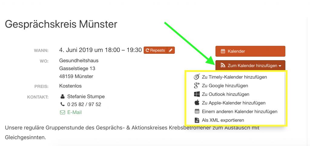 Krebsbetroffene_Muenster_Webseite_Kalenderfunktion